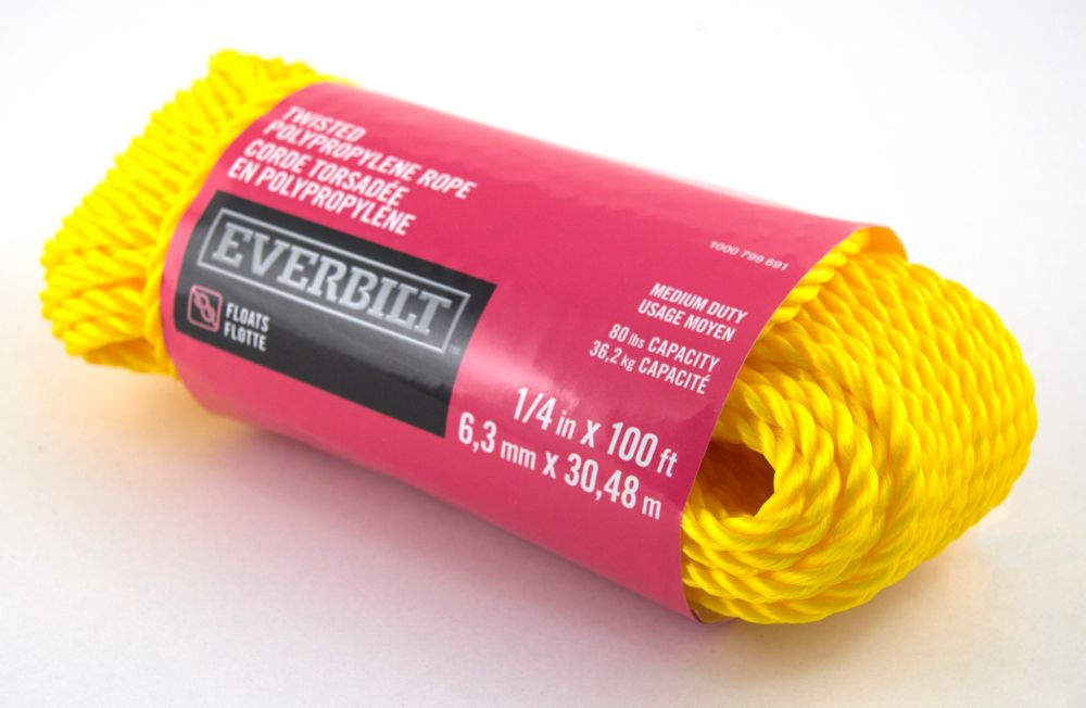 1/4 Inch  x 100 Feet  POLYPROPYLENE TWISTED YELLOW