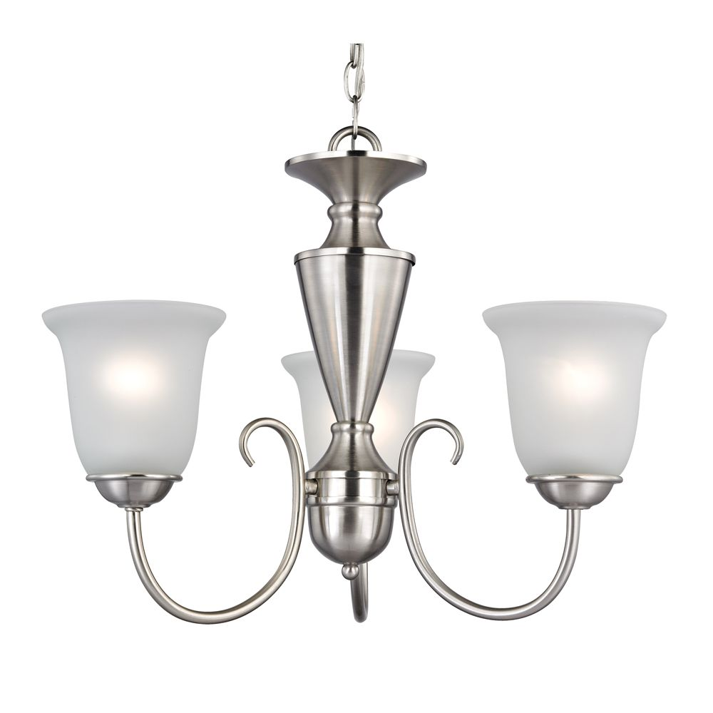 3 Light Chandelier In Brushed Nickel With Led Option