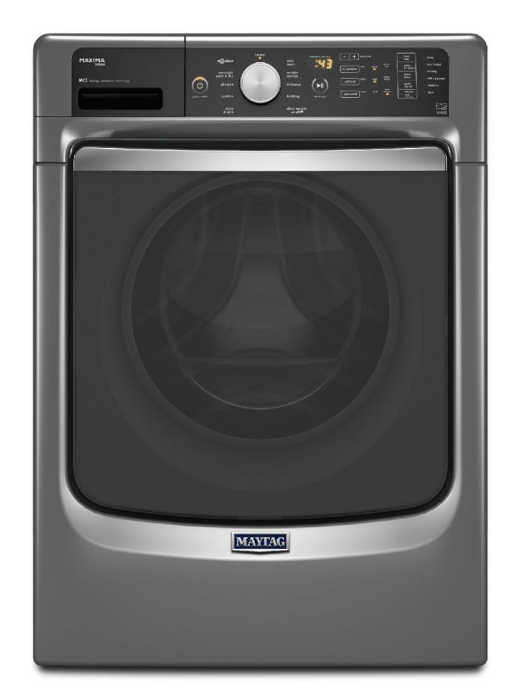Maxima 5.2 cu. ft. Front Load Steam Washer with Overnight Wash and Dry Cycle in Metallic Slate