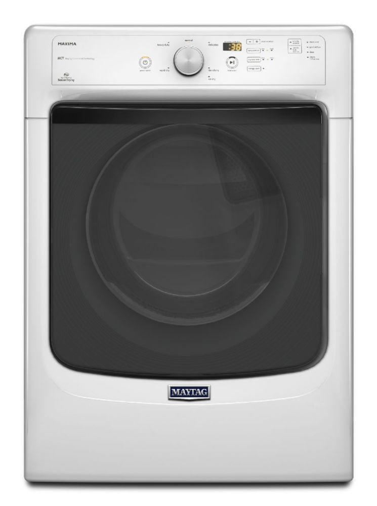 Maxima 7.3 cu. ft. High Efficiency Dryer with Large Capacity and Advanced Moisture Sensing in Whi...