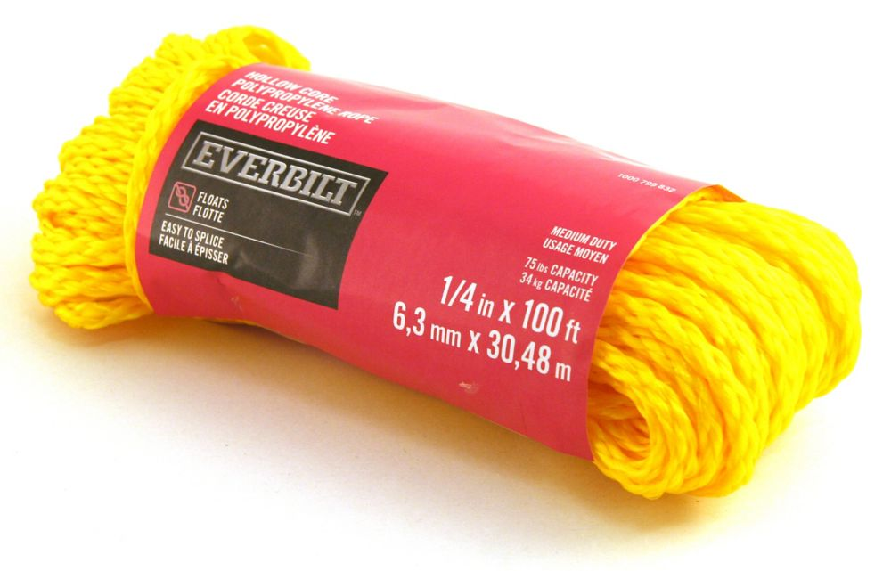 1/4 Inch  x 100 Feet  POLYPROPYLENE HOLLOW CORE YELLOW
