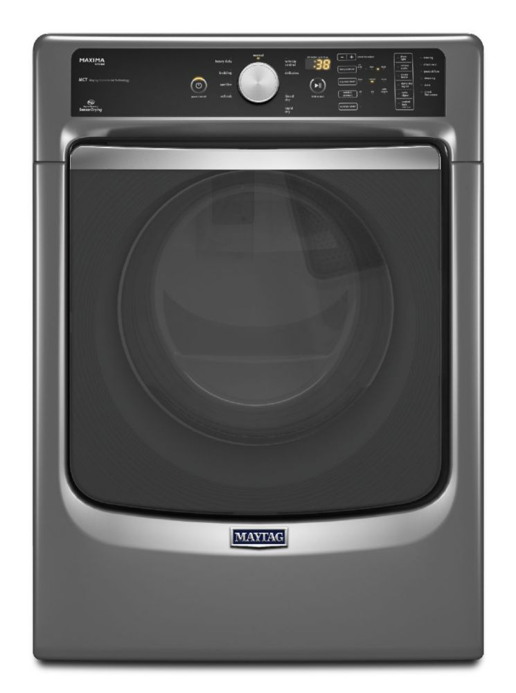 Maxima 7.3 cu. ft. Gas Dryer with Large Capacity and Stainless Steel Drum in Gray