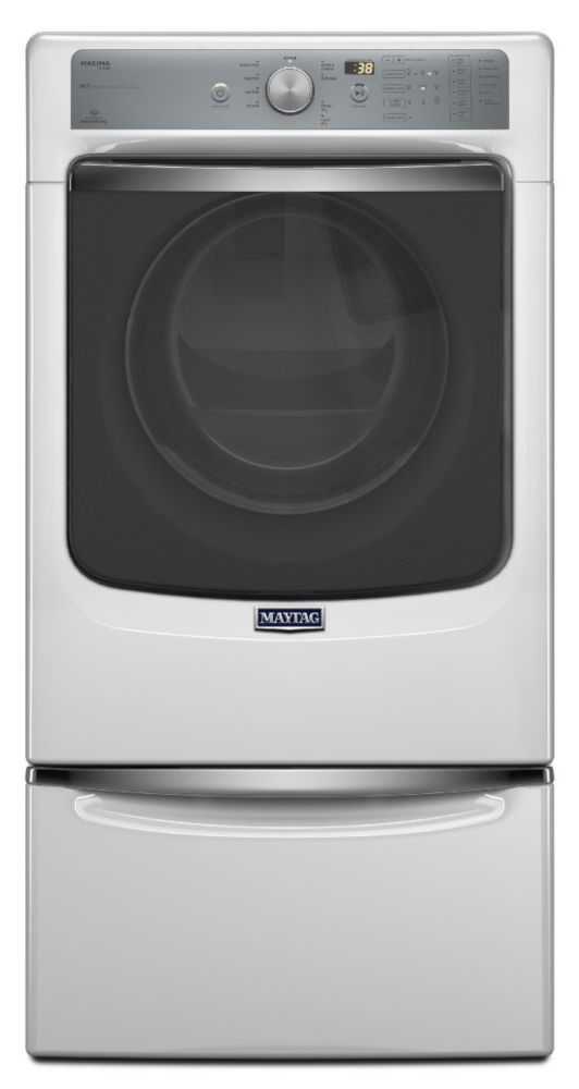 Maxima 7.3 cu. ft. Steam Dryer with SoundGuard<sup>®</sup> Stainless Steel Drum in White