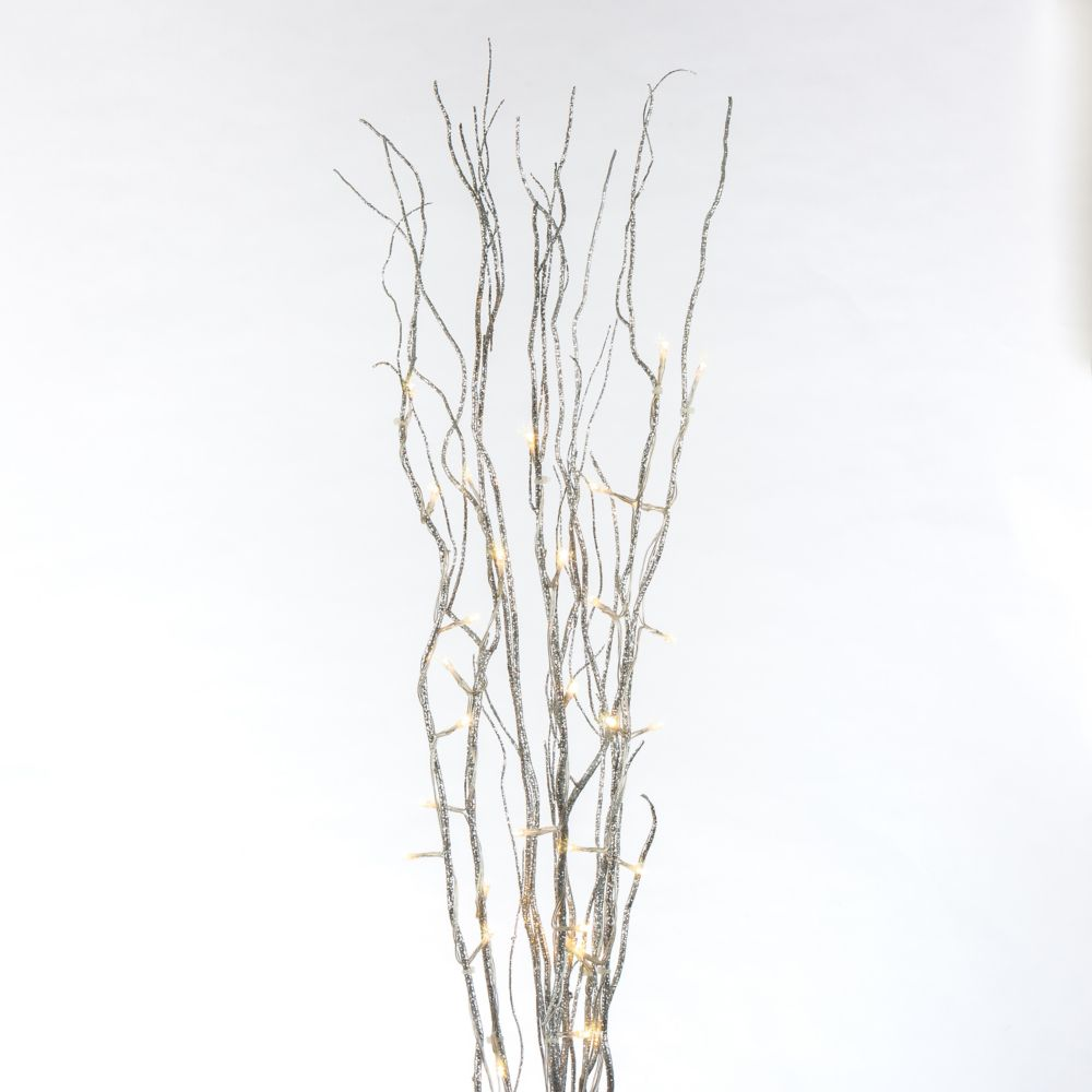 39-inch 30 Warm White LED-Lit Glittered Willow Branch Decoration