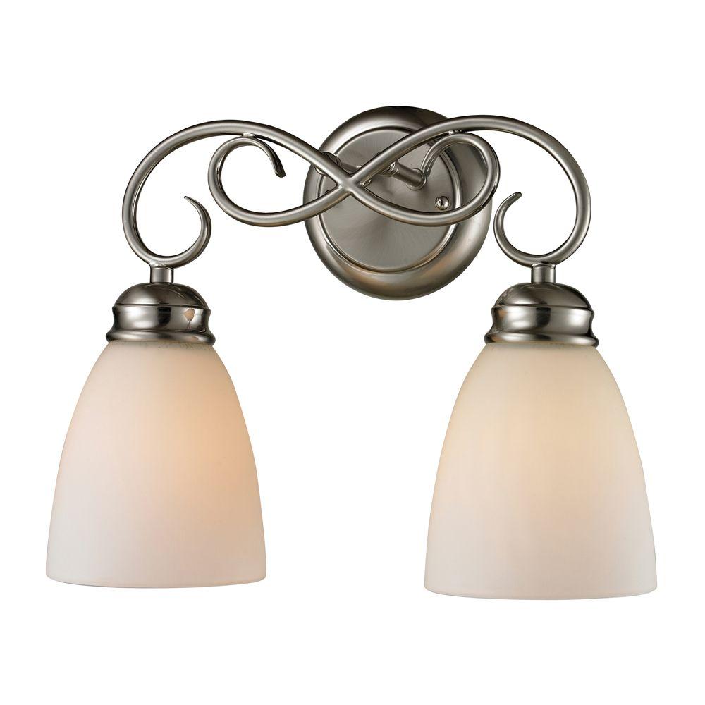 Titan Lighting 2 Light Bath Bar In Brushed Nickel With Led Option