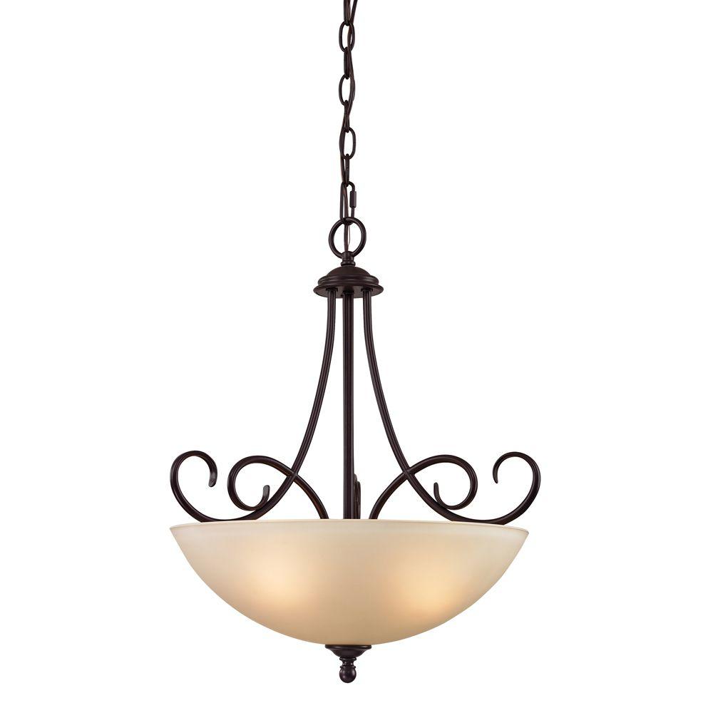 3 Light Pendant In Oiled Rubbed Bronze TN-50037 Canada Discount