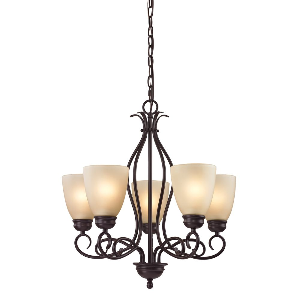 5 Light Chandelier In Oil Rubbed Bronze