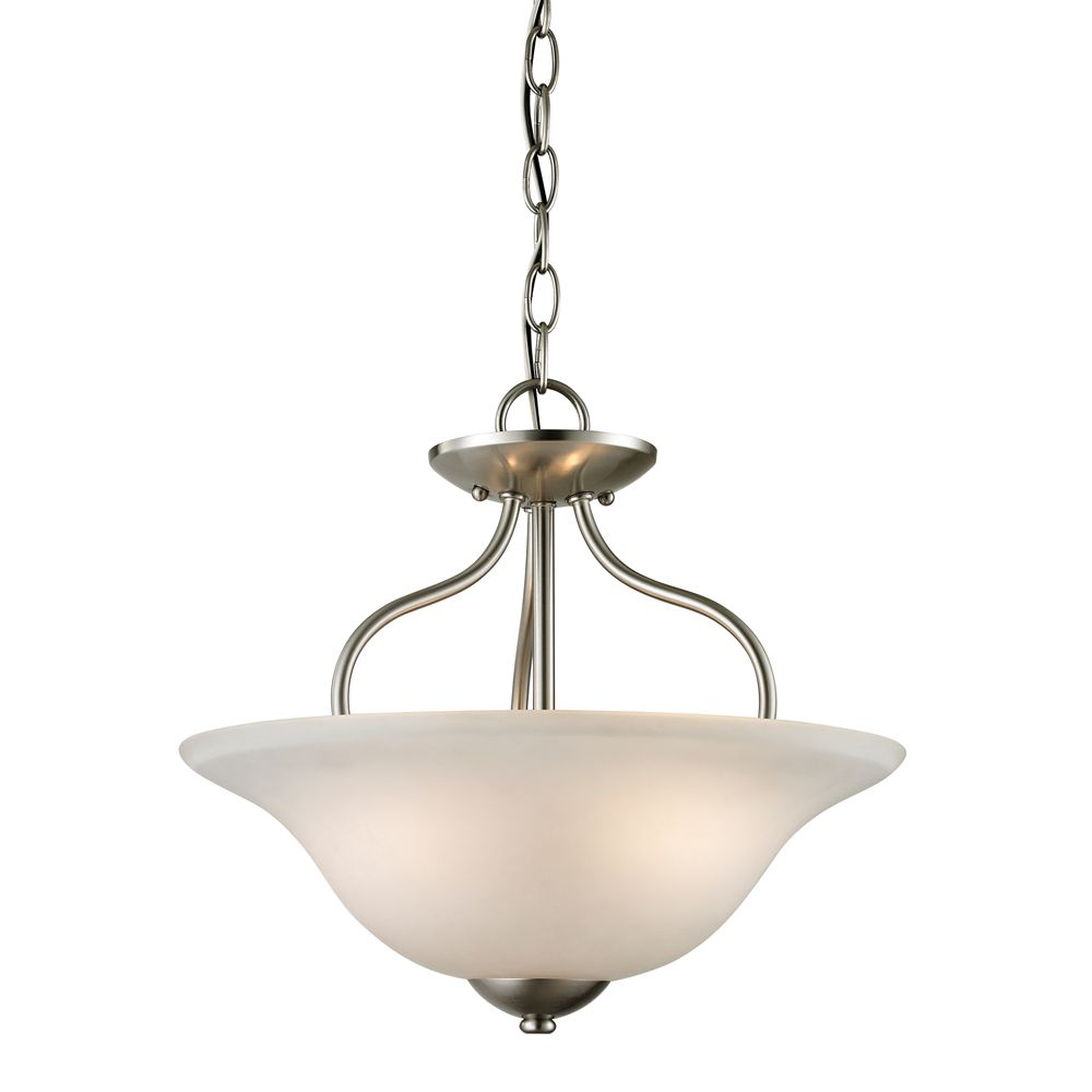 2 Light Semi Flush In Brushed Nickel