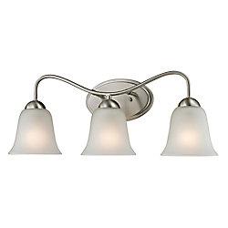 Titan Lighting Applique de salle de bain à 3ampoules au fini nickel brossé