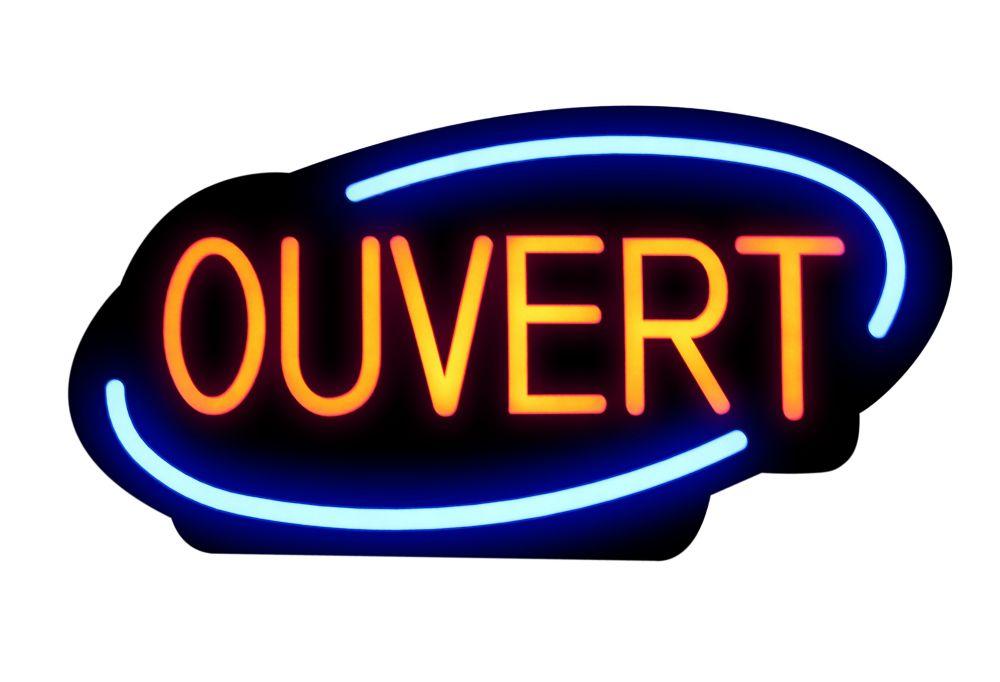 Enseigne à DEL Ouvert,  français