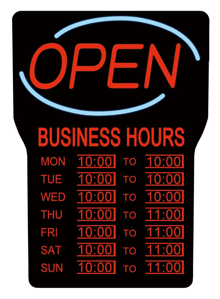 LED Open Sign with Business Hours (English)