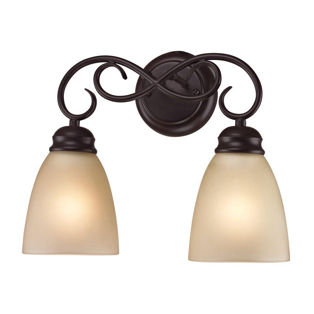 titan lighting applique de salle de bain 2 ampoules ou del au fini bronze huil the home. Black Bedroom Furniture Sets. Home Design Ideas
