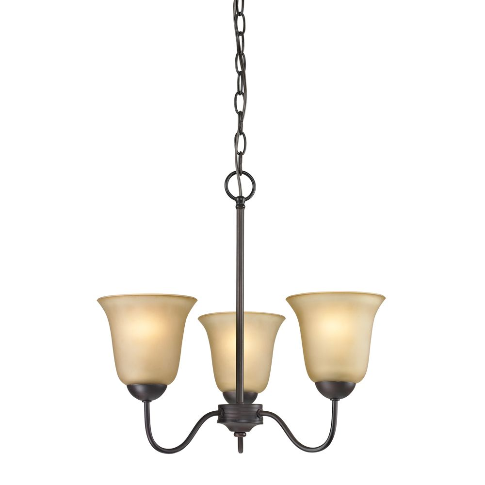 Conway 3-Light Oil Rubbed Bronze Chandelier With Light Amber Glass Shades