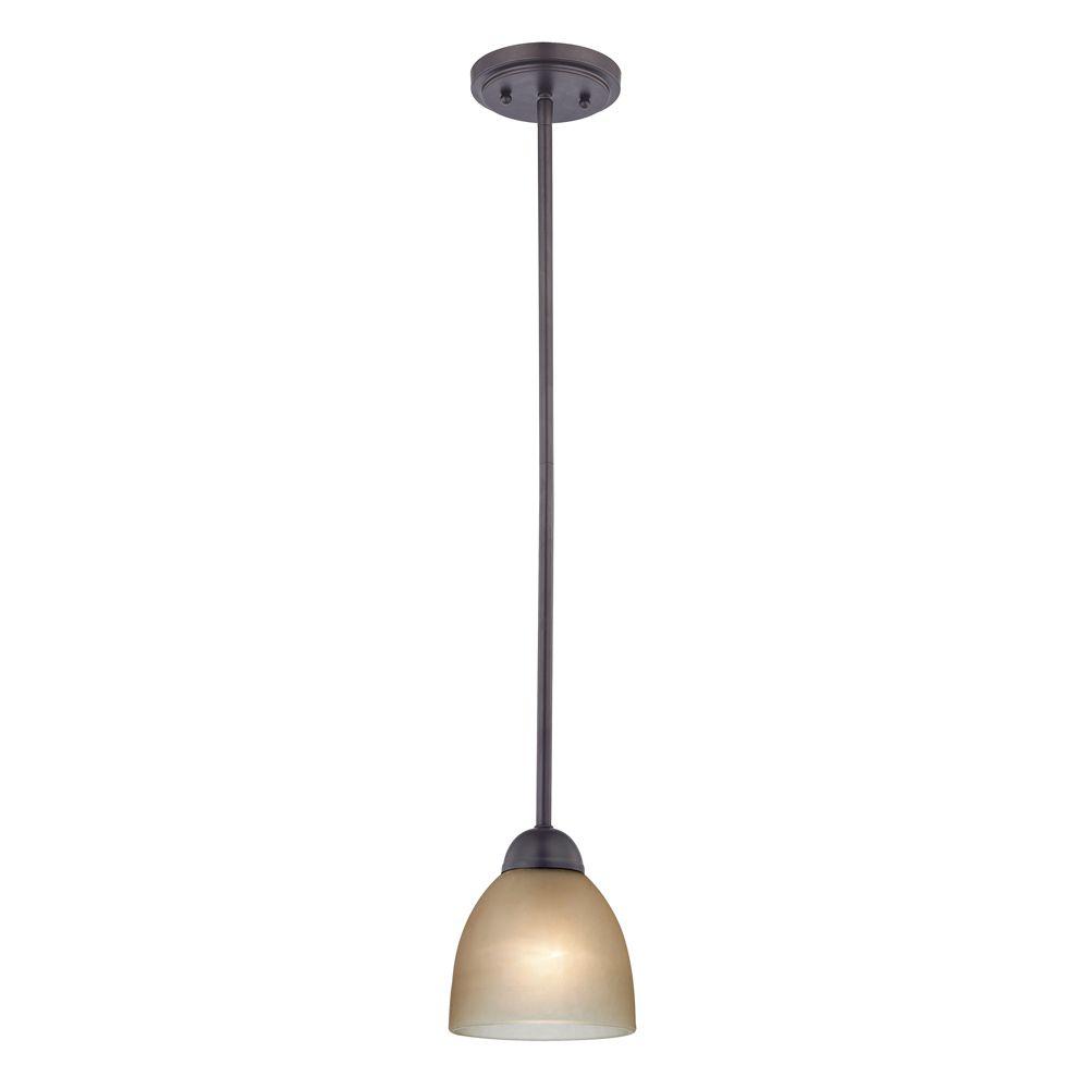 Luminaire suspendu miniature à 1ampoule au fini bronze huilé