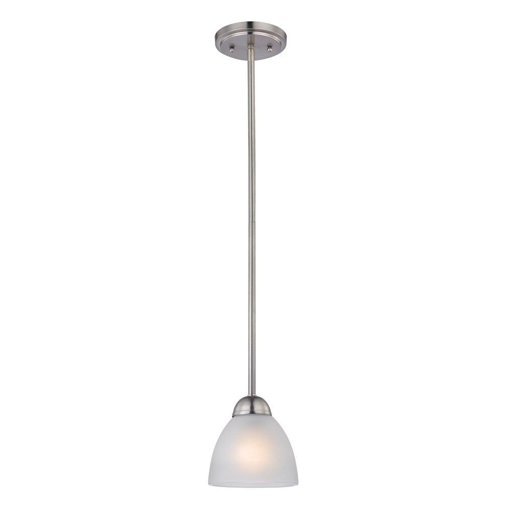 Luminaire suspendu miniature à 1ampoule au fini nickel brossé
