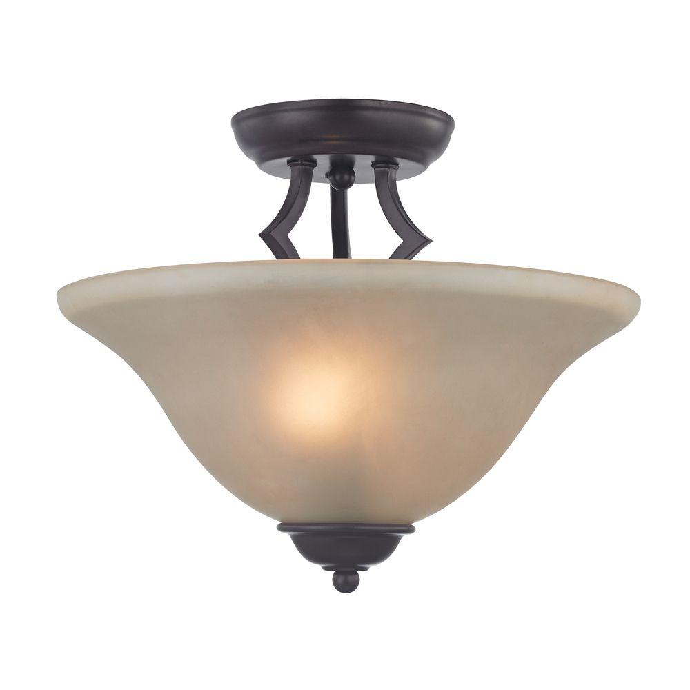Titan Lighting 2 Light Semi Flush In Oil Rubbed Bronze