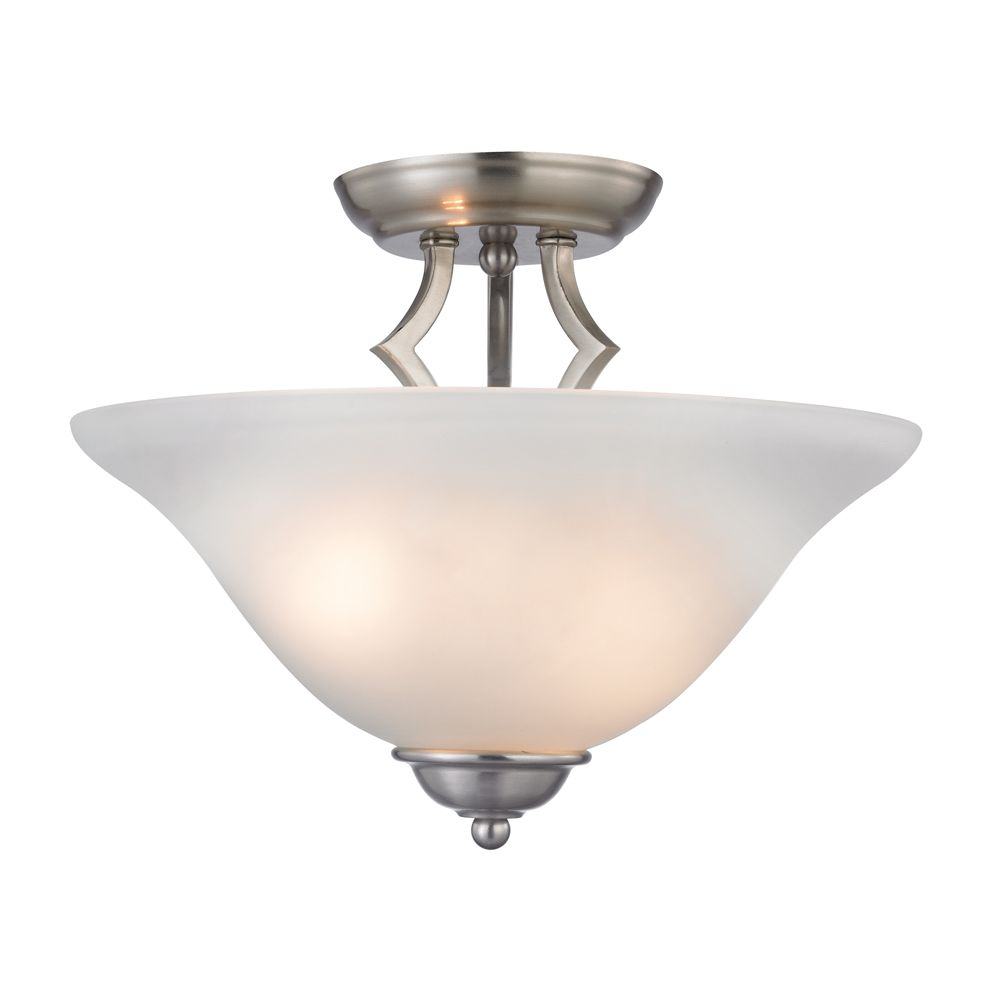 Titan Lighting 2 Light Semi Flush In Brushed Nickel
