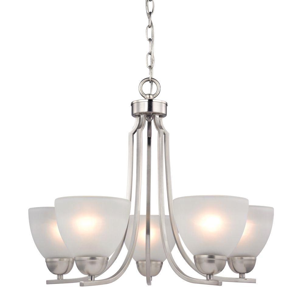 5 Light Chandelier In Brushed Nickel