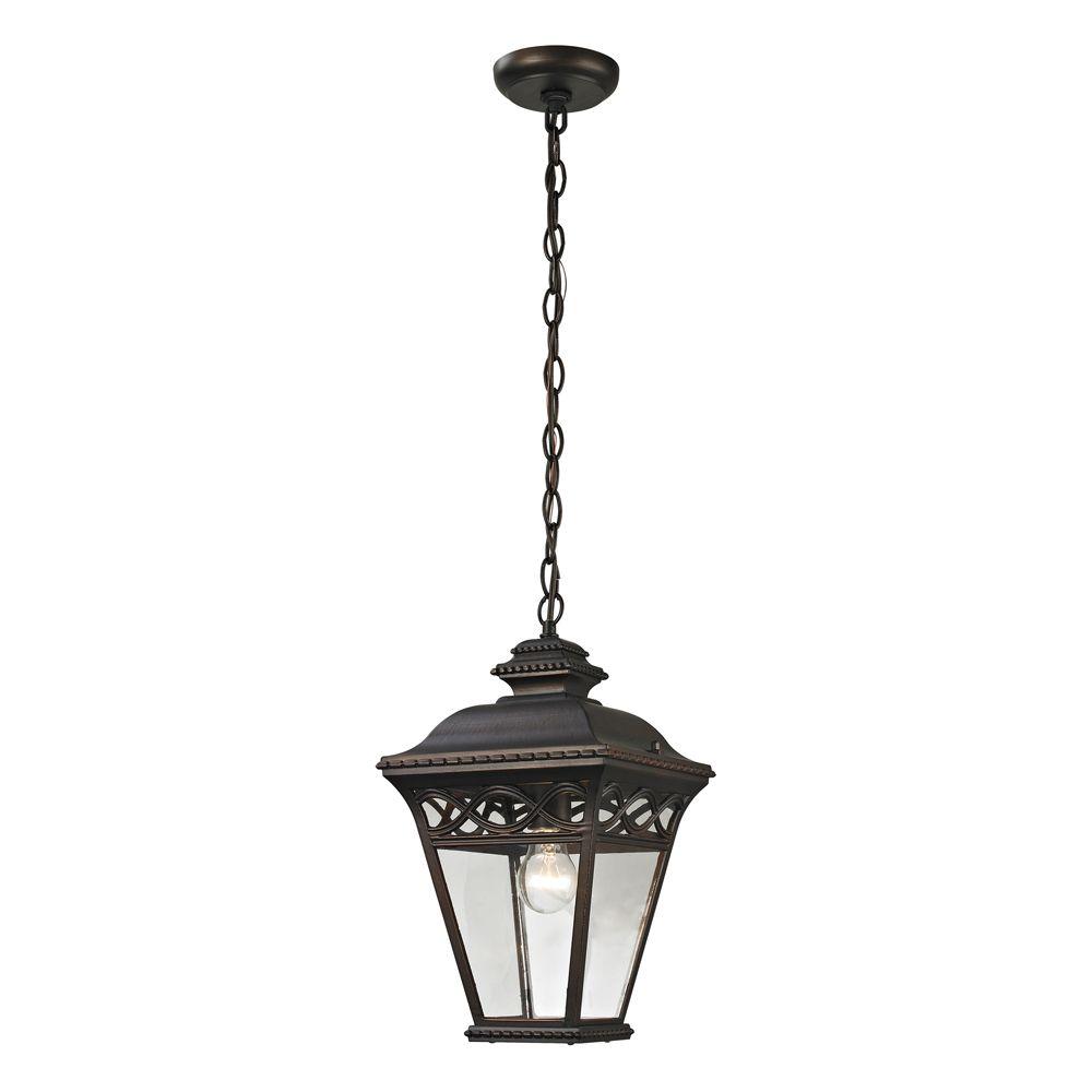 Luminaire suspendu extérieur au fini bronze noisette