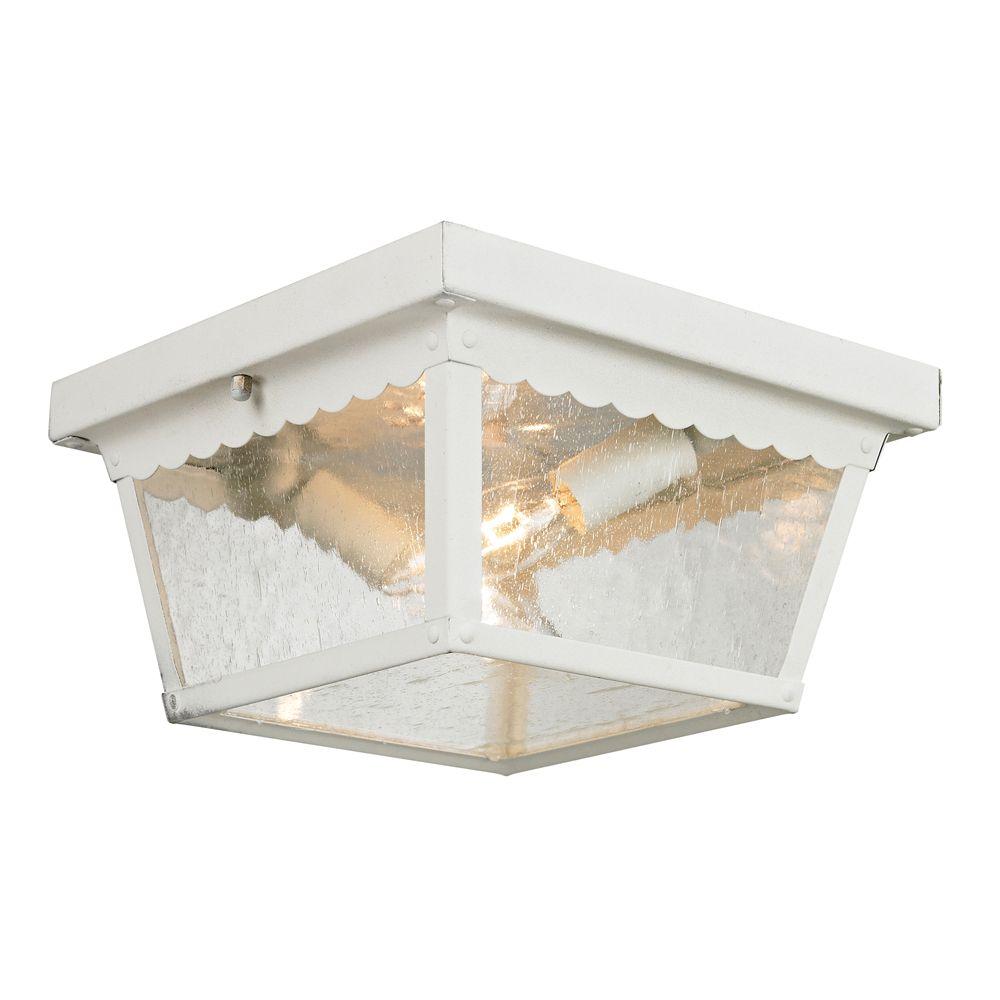 Titan lighting plafonnier ext rieur blanc home depot canada for Plafonnier exterieur