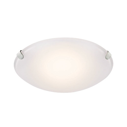 Brushed nickel led flush mount with frosted glass shade 10 75 inch
