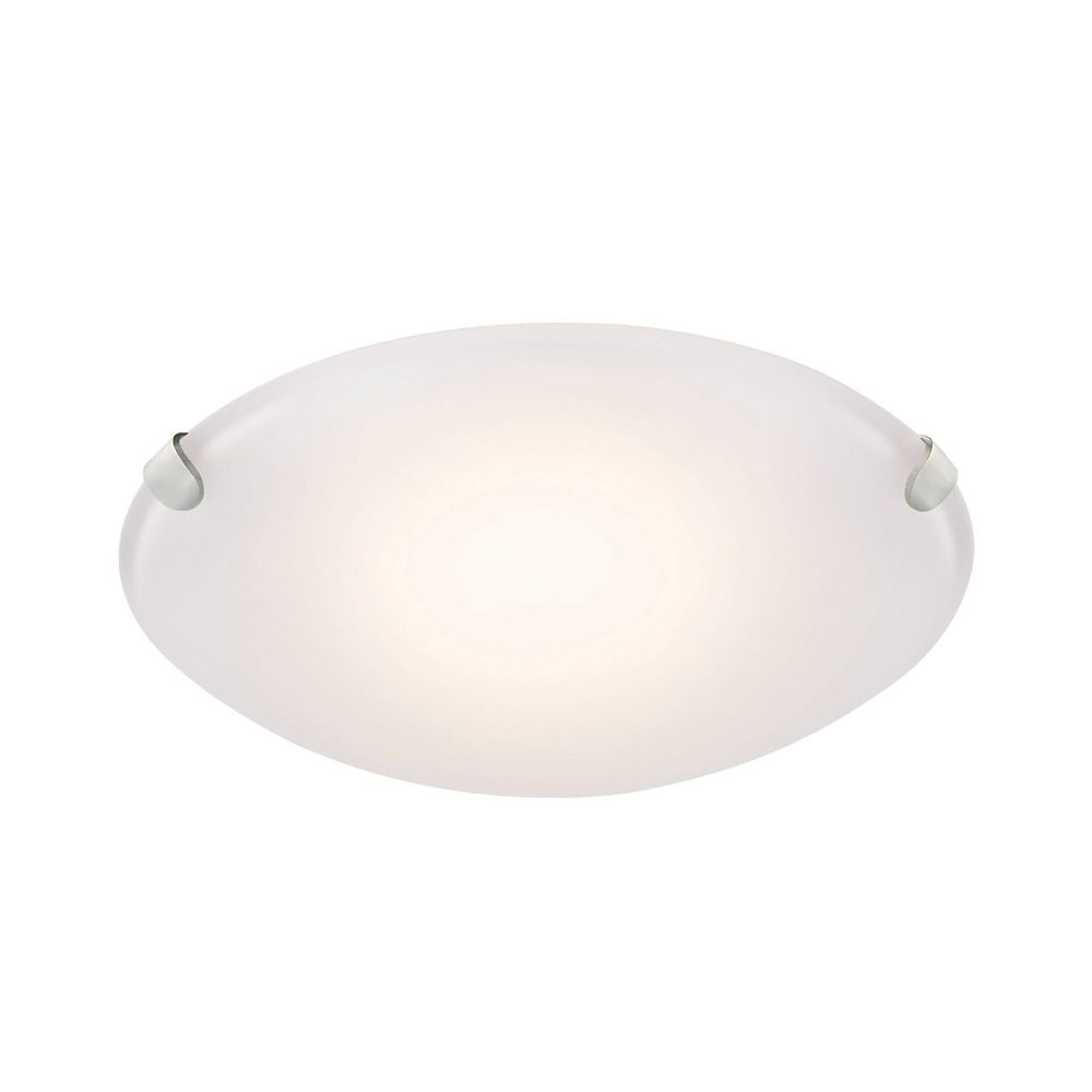 Brushed Nickel LED Flush Mount with Frosted Glass Shade - 10.75 Inch
