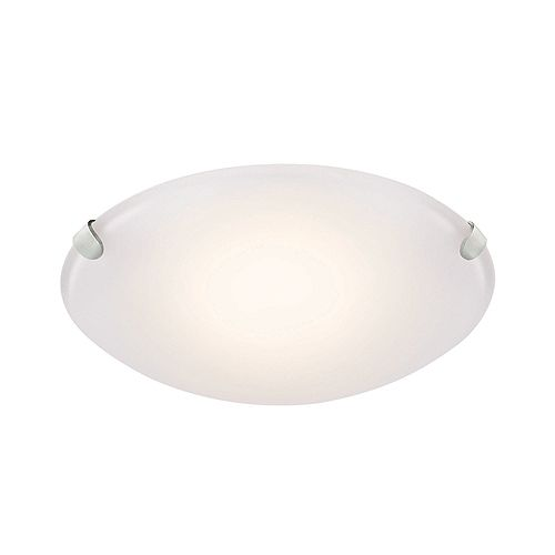 Hampton Bay 10.75-inch Brushed Nickel LED Flushmount Ceiling Light with Frosted Glass Shade - ENERGY STAR