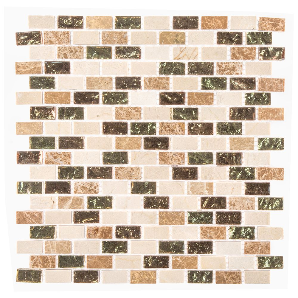 12-Inch x 12-Inch x 8 mm Marble/Glass Mosaic Wall Tile in Molten