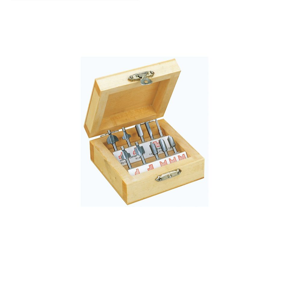 10-Piece Router Bit Set in Wooden Box