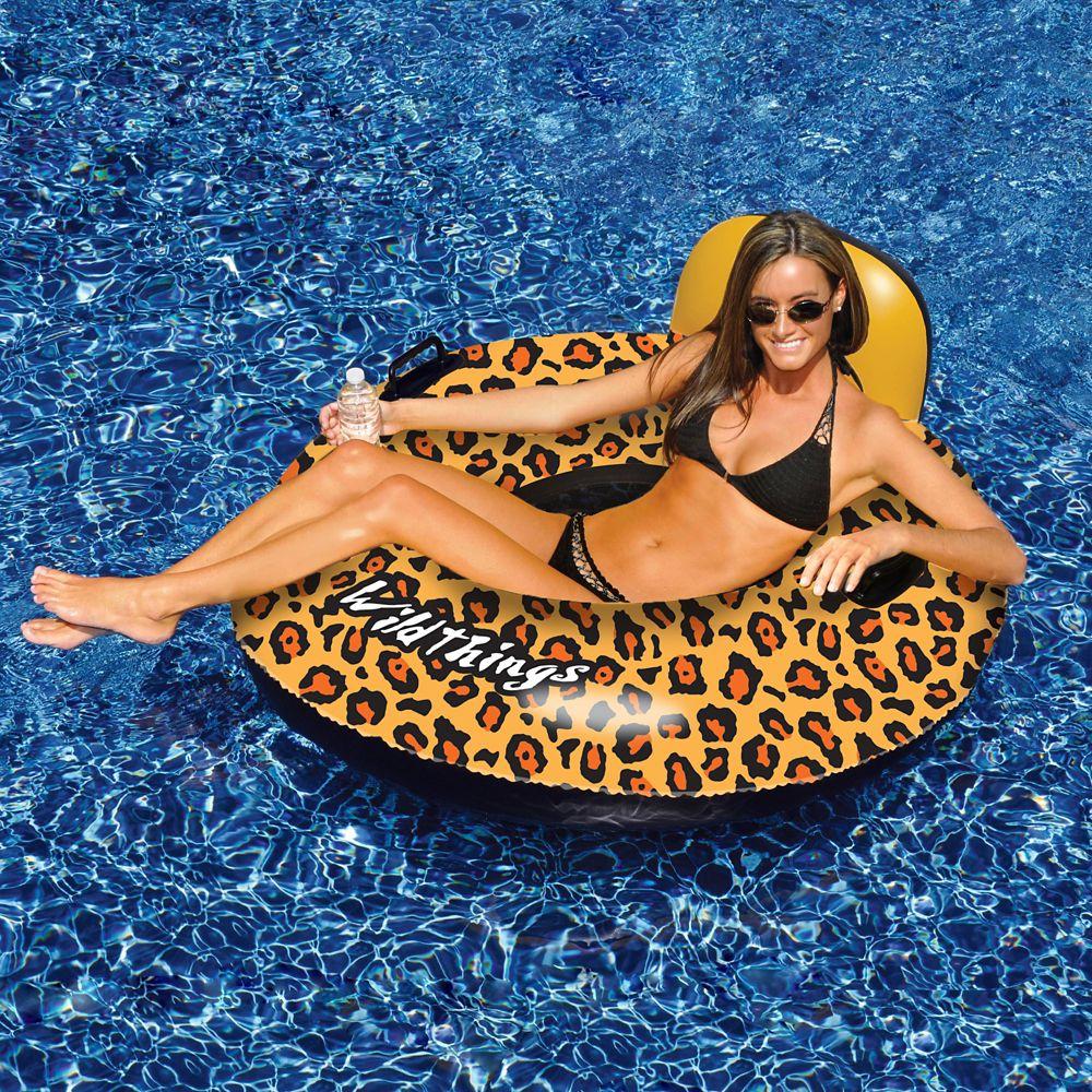 Coussin gonflable Wildthings pour piscine, imprimé léopard, 1 mètre