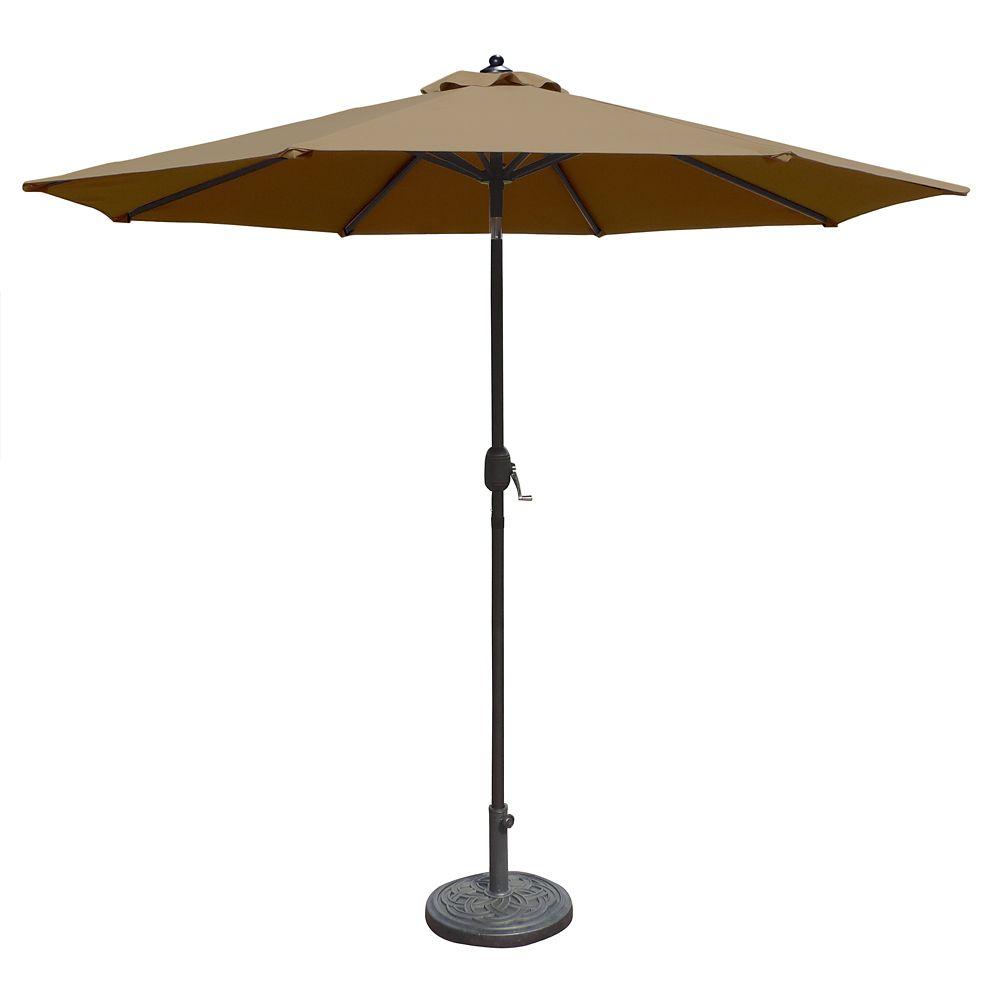 Mirage parasol de marché octogonal de 2,74 m (9 pi) avec inclinaison automatique en oléfine pierr...