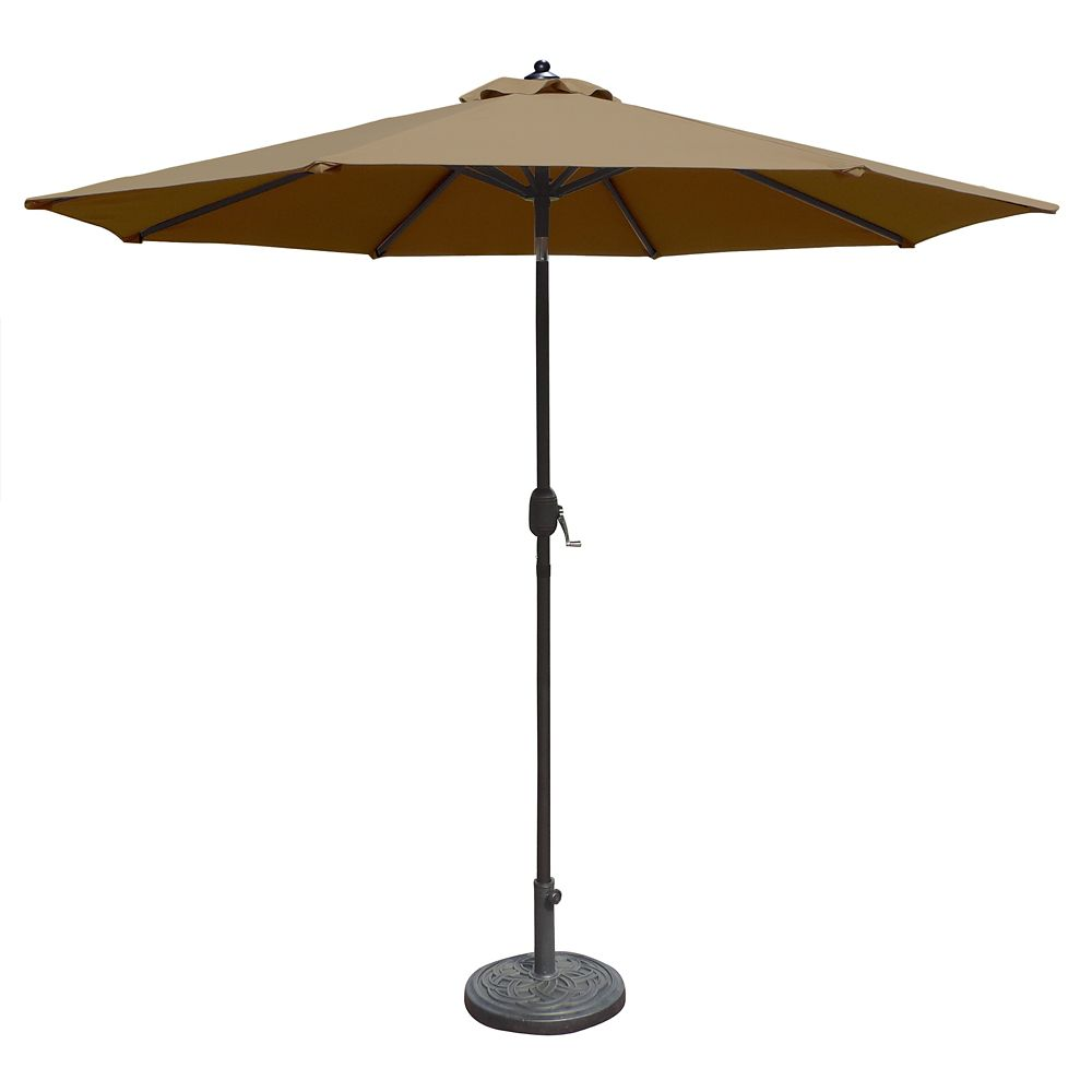 Mirage 9 ft. Octagonal Market Umbrella with Auto-Tilt in Stone Olefin