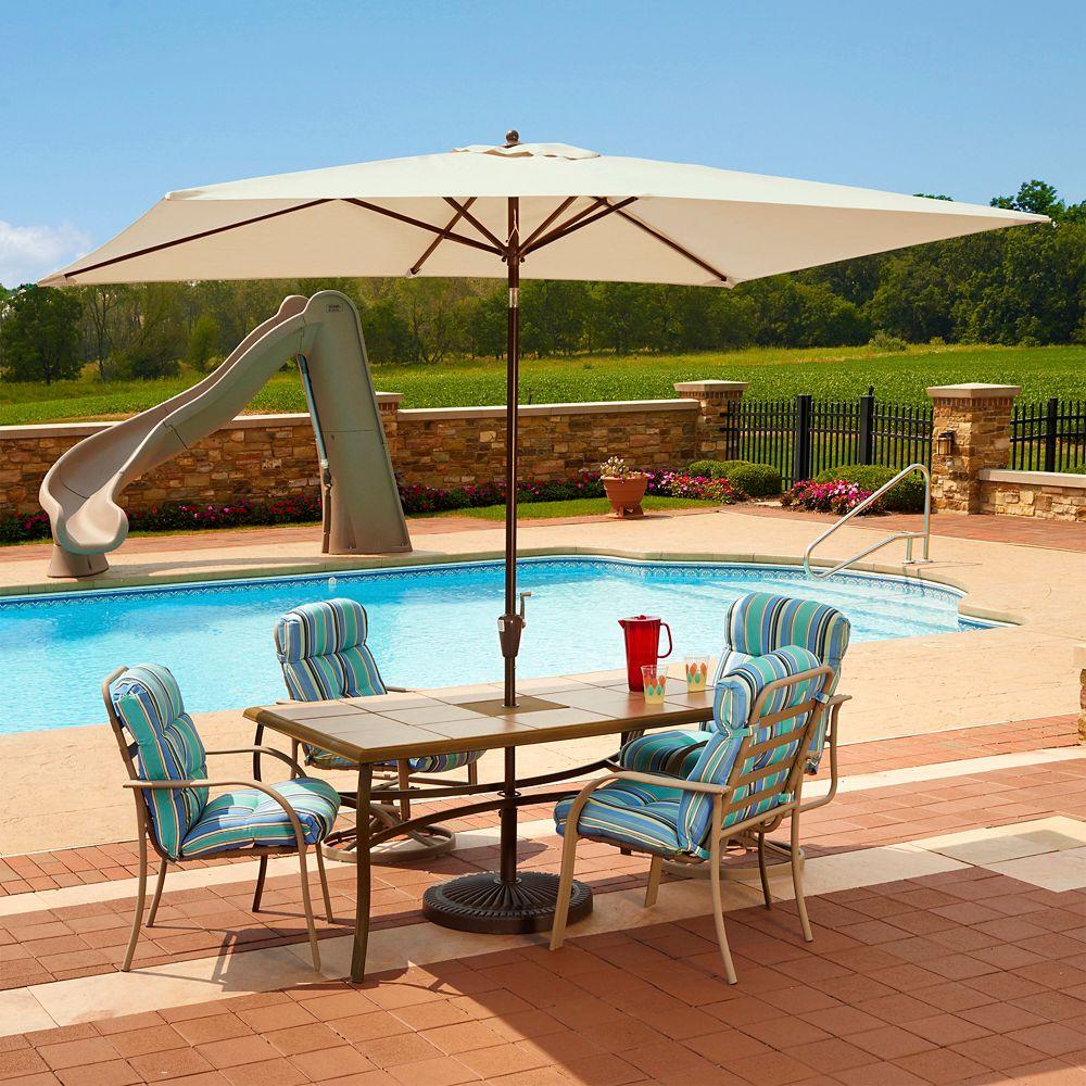 Adriatic parasol, auto-inclinable, rectangulaire, 2 m x 3 m ( 6,5 pi x 10 pi) en oléfine champagn...