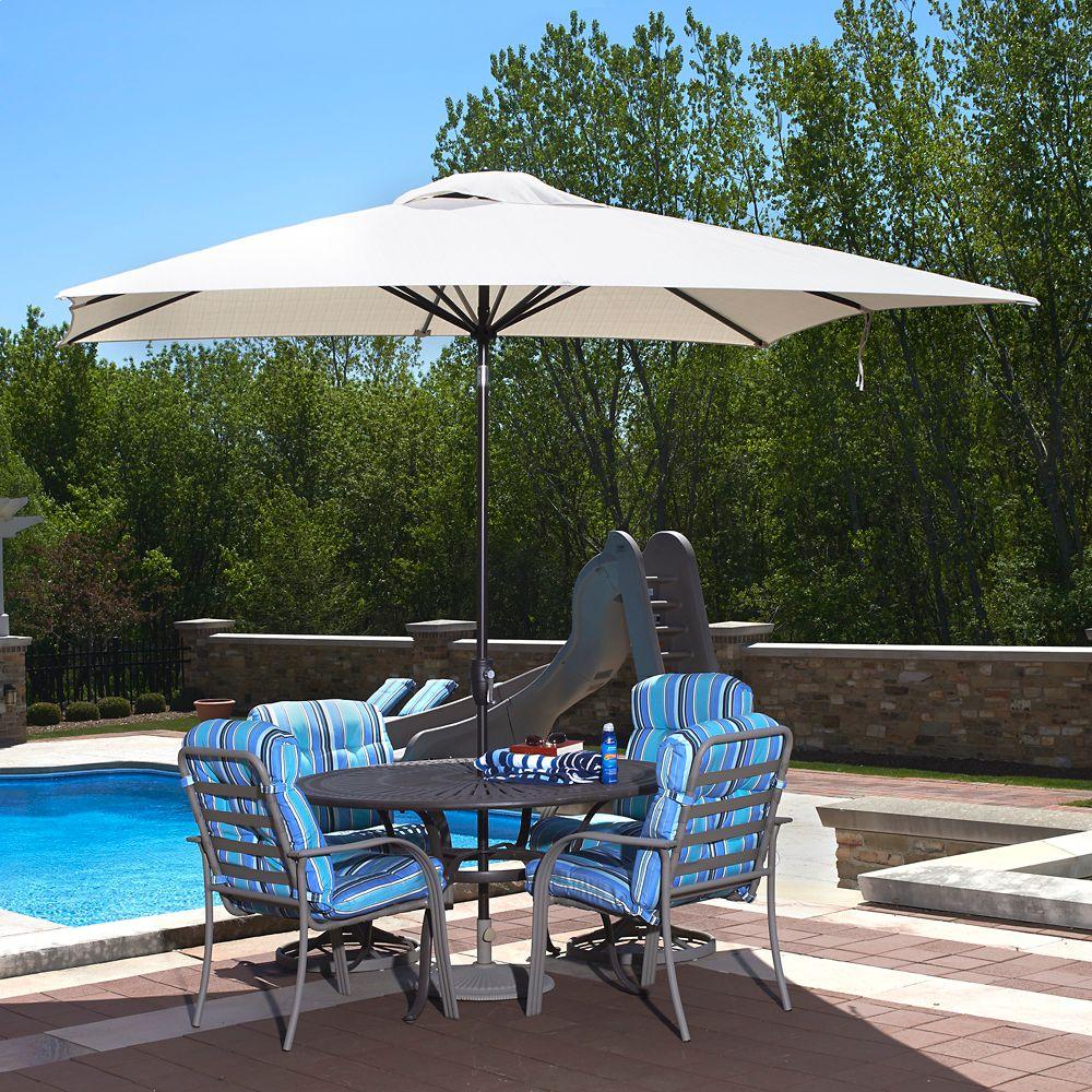 Caspian parasol, rectangulaire, de 2,4 m x 3 m (8 pi x 10 pi) en oléfine champagne