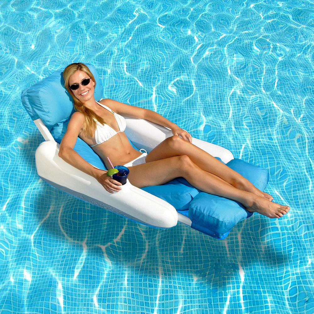 SunChaser Luxury Floating Pool Lounger with Sunsoft Fabric Covering