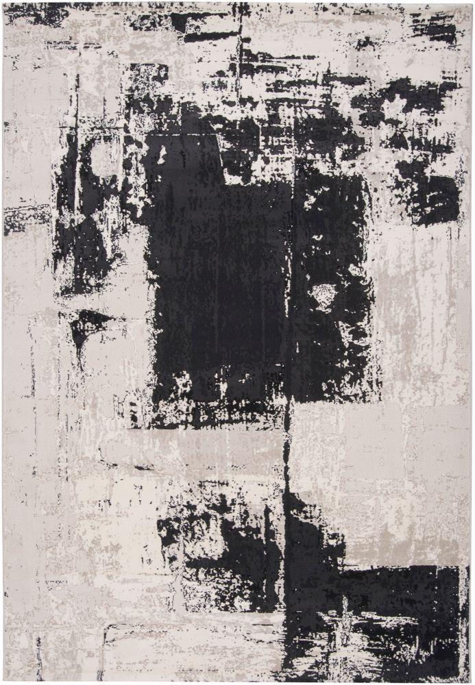 Carpette Calabozo noire en oléfine - 5 pieds 3 pouces x 7 pieds 3 pouces