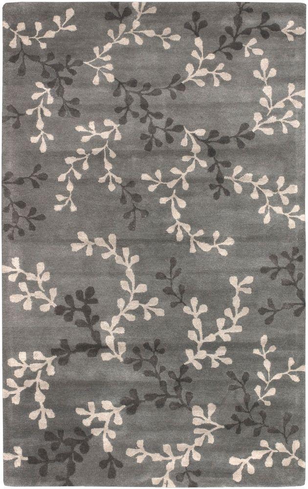 Tapis Carpette Satipo gris-bleu en laine de Nouvelle-Zélande - 8 Po. x 11 Po.