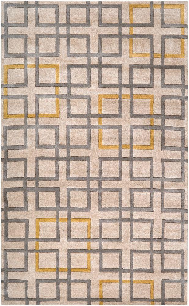 Tapis Calama beige en laine de Nouvelle-Zélande 5 Pi. x 8 Pi.
