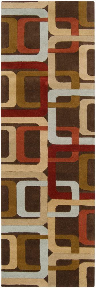 Artistic Weavers  Tapis de passage Osasco chocolat en laine 2 Pi. 6 Po. x 8 Pi.