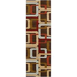 Artistic Weavers Tapis de passage d'intérieur, 2 pi 6 po x 8 pi, style contemporain, brun Osasco