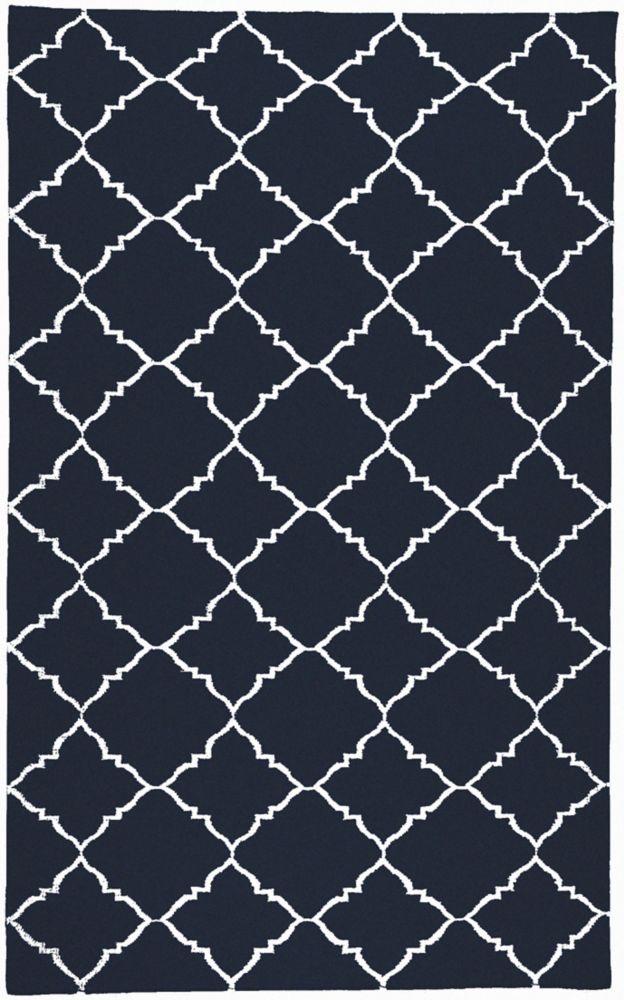 Tapis Pelotas bleu foncé tissée à plat en laine 8 Pi. x 11 Pi.