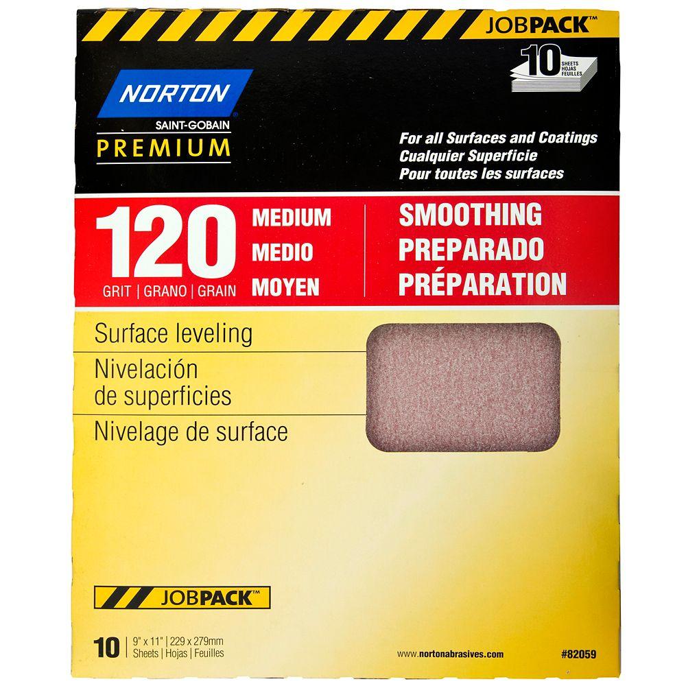 Premium Sandpaper 9 Inch X11 Inch  120 F 10PK Job Pack