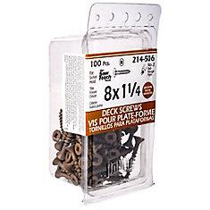 #8 x 1-1/4-inch Square Drive Flat Head Deck Screw UNC in Brown - 100pcs