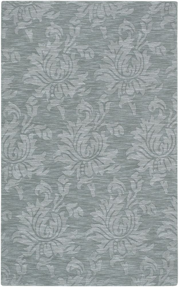 Tapis Carpette Biruca gris bleu en laine - 8 Po. x 11 Po.