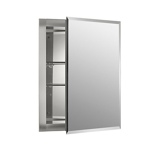 16-inch W x 20-inch H x 5-inch D Aluminum Recessed Medicine Cabinet