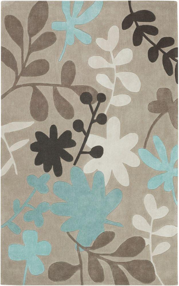 Tapis Carpette Angol taupe en polyester - 8 Po. x 11 Po.