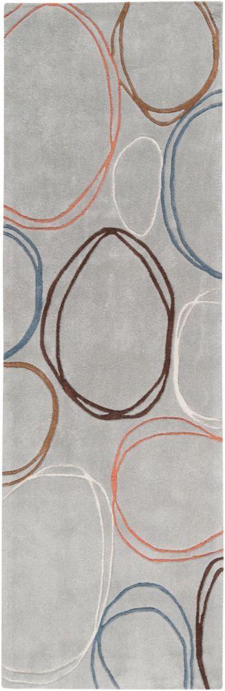 Valdivia Blue Gray Polyester 2 Ft. 6 In. x 8 Feet Runner