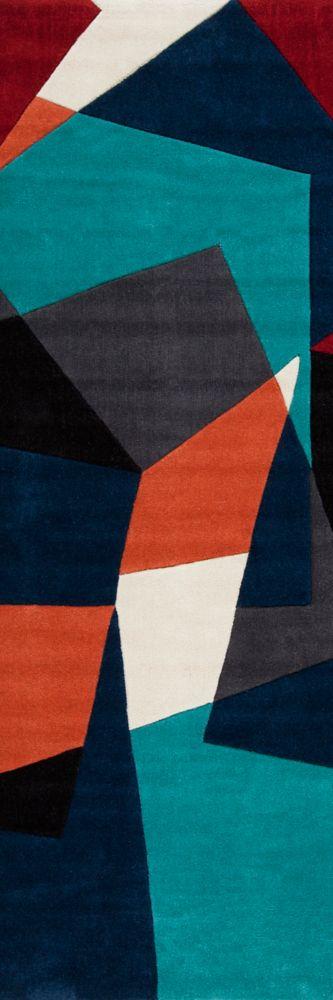 Castro Teal Polyester 2 Ft. 6 In. x 8 Feet Runner