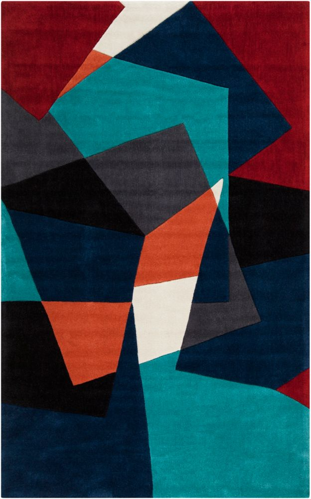 Castro Teal Polyester 5 Ft. x 8 Ft. Area Rug