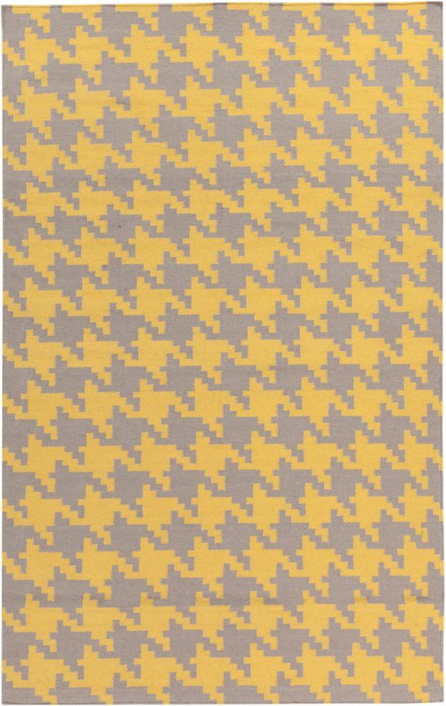 Tapis Londrina jaune tissée à plat en laine 5 Pi. x 8 Pi.